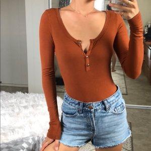 Brown/Mustard Orange ribbed long sleeve body suit